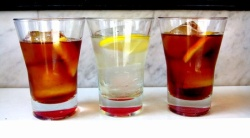 33933542 - red and white vermouth in a bar.